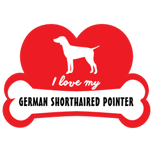 Handwritten I Love My German Shorthaired Pointer with Dog Bone and Heart Sticker