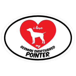 Handwritten I Love My German Shorthaired Pointer with Heart Oval Sticker