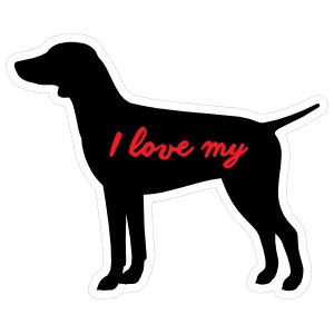 Handwritten I Love My German Shorthaired Pointer Silhouette  Sticker