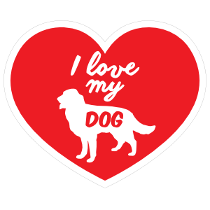 Handwritten I Love My Golden Retriever Heart Magnet