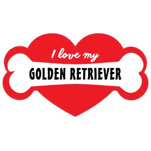 Handwritten I Love My Golden Retriever With Bone And Heart Magn