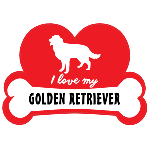 Handwritten I Love My Golden Retriever with Dog Bone and Heart Magnet