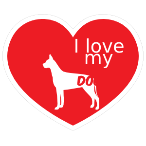 Handwritten I Love My Great Dane Heart Sticker