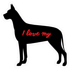 Handwritten I Love My Great Dane Silhouette  Sticker