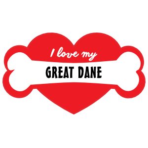 Handwritten I Love My Great Dane with Bone and Heart Sticker