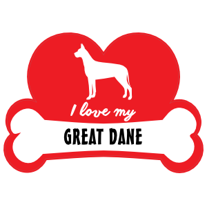 Handwritten I Love My Great Dane with Dog Bone and Heart Sticker
