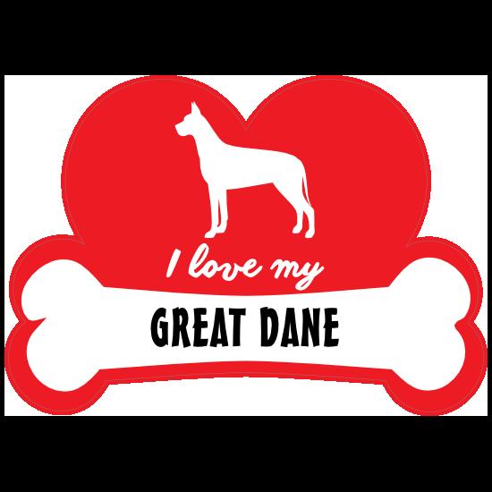 Handwritten I Love My Great Dane With Dog Bone And Heart Magnet
