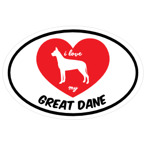 Handwritten I Love My Great Dane with Heart Oval Sticker