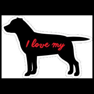 Handwritten I Love My Labrador Silhouette  Magnet