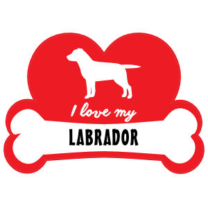 Handwritten I Love My Labrador with Dog Bone and Heart Magnet