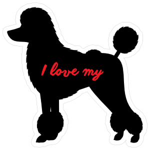 Handwritten I Love My Poodle Silhouette  Magnet
