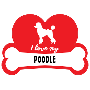 Handwritten I Love My Poodle With Dog Bone And Heart Magnet