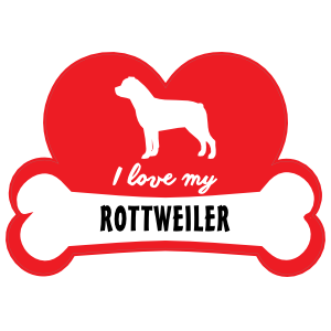 Handwritten I Love My Rottweiler With Dog Bone And Heart Magnet