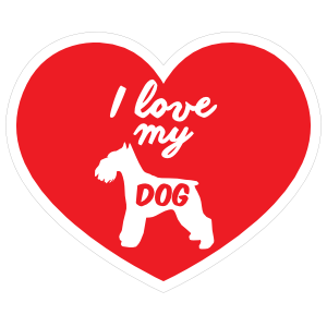 Handwritten I Love My Schnauzer Heart Sticker