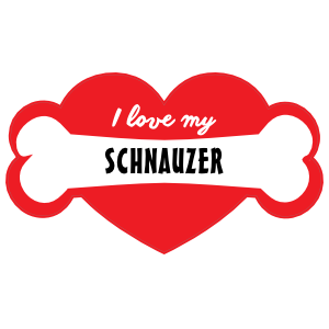 Handwritten I Love My Schnauzer with Bone and Heart Sticker