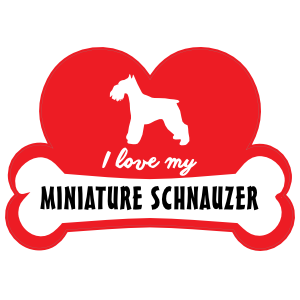 Handwritten I Love My Schnauzer with Dog Bone and Heart Sticker