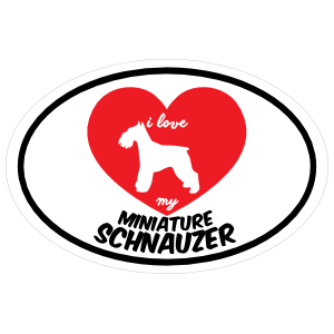 Handwritten I Love My Schnauzer with Heart Oval Sticker