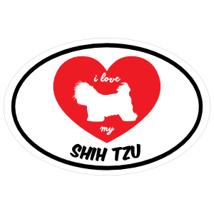 Handwritten I Love My Shih Tzu With Heart Oval Magnet