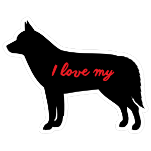 Handwritten I Love My Siberian Husky Silhouette  Sticker