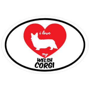 Handwritten I Love My Welsh Corgi With Heart Oval Sticker