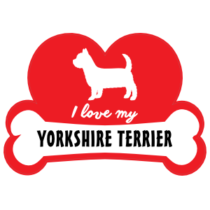 Handwritten I Love My Yorkshire Terrier With Dog Bone And Heart