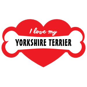 Handwritten I Love My Yorkshire Terrier with Bone and Heart Magnet