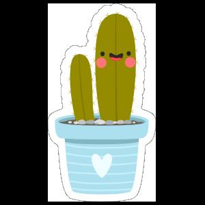 Happy Waving Cactus Sticker