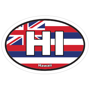 Hawaii Hi State Flag Oval Sticker