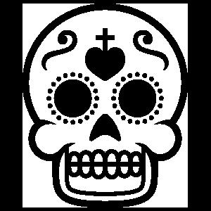 Heart and Cross Decorative Skull Sticker