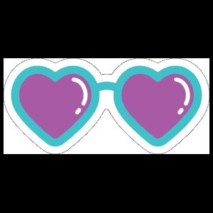 Heart Glasses with Purple Lenses Hippie Sticker