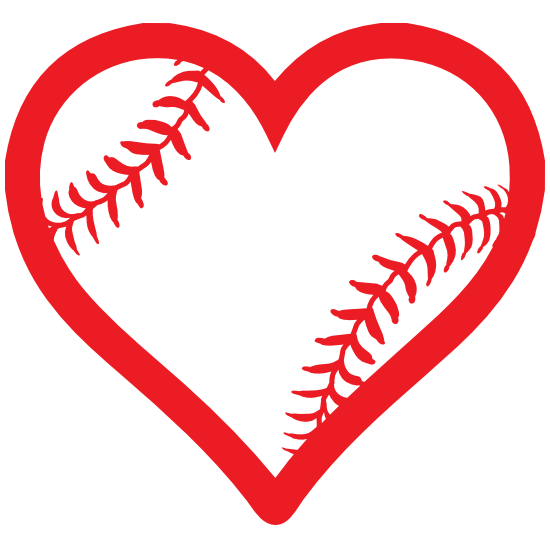 Heart With Seams Baseball Or Softball Sticker