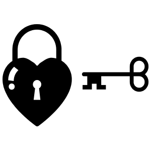 Heart With Lock & Key Sticker