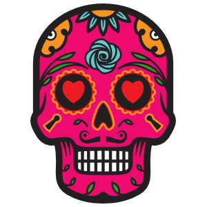Heart Eyes Day of the Dead Skull Sticker