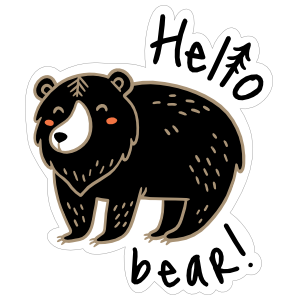Hello Bear Camping Sticker