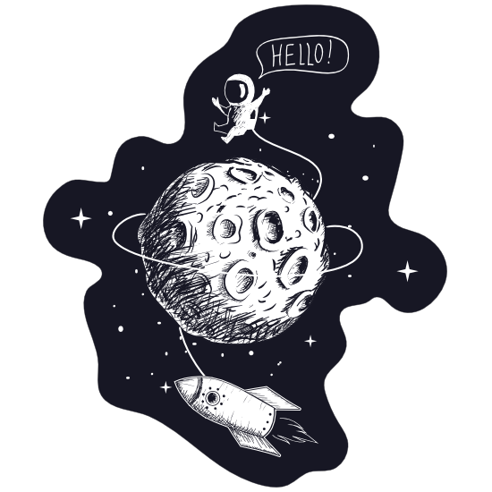 Hello Spaceman On Moon Sticker