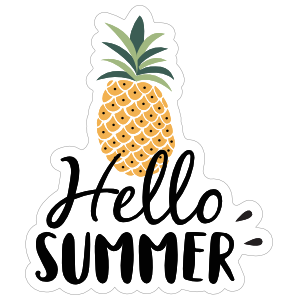 Hello Summer Pineapple Sticker