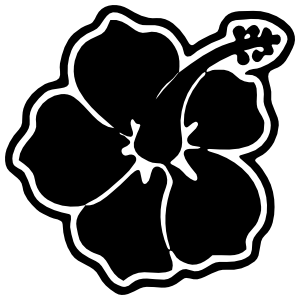Hibiscus Flower With Outline Sticker
