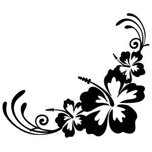Hibiscus Flowers Corner Sticker