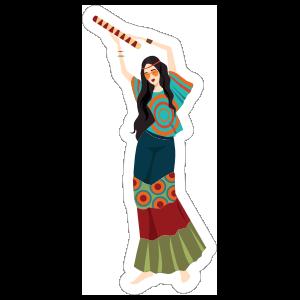 Hippie Girl Musician Sticker