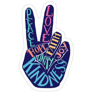 Hippie Peace Hand Sticker