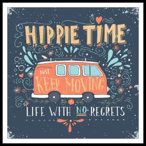 Hippie Time Bus Hippie Sticker