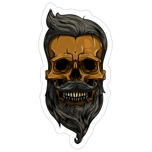 Hipster Skull With Mustache And Beard Sticker