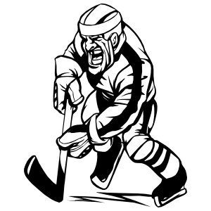 Detailed Hockey Player Sticker