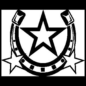 Horseshoe With Three Stars Sticker