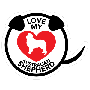 I Love My Australian Shepherd Puppy Heart Circle with Tail Sticker