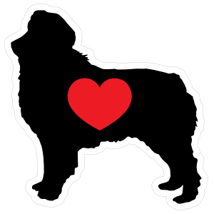 I Love My Australian Shepherd Silhouette With Heart Magnet