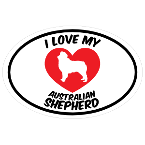 I Love My Australian Shepherd Text with Heart Oval Sticker