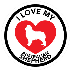 I Love My Australian Shepherd with big Heart Circle Sticker