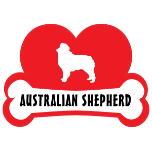 I Love My Australian Shepherd with Dog Bone and Heart Sticker