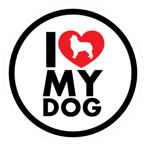 I Love My Australian Shepherd With Heart Circle Magnet